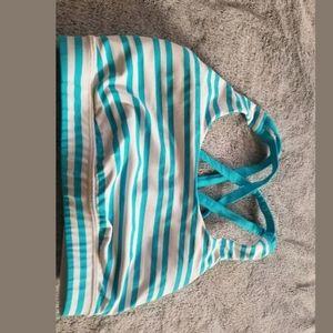 Lululemon White Teal Blue Striped Sports Bra 4